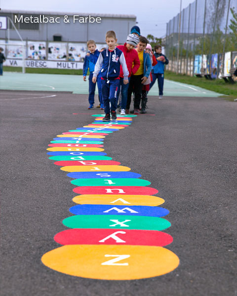 playground markings games; playground games for kids; outdoor play; math games; school yard games; educational games; asphalt games; interactive games; road markings signs; road traffic signs; caterpillar game; compass games; snail games