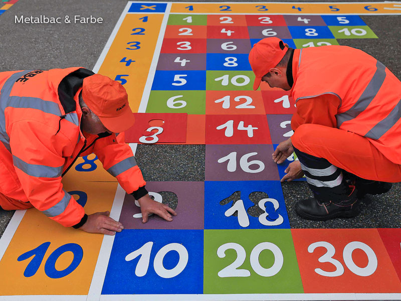 playground markings games; playground games for kids; outdoor play; math games; school yard games; educational games; asphalt games; interactive games; road markings signs; road traffic signs; hopscotch game; logical games; company logos