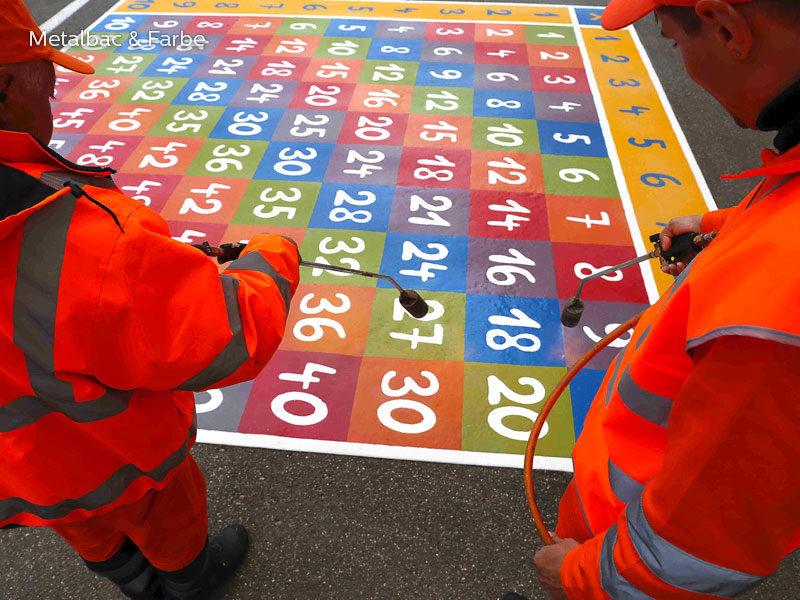 playground markings games; playground games for kids; outdoor play; math games; school yard games; educational games; asphalt games; interactive games; road markings signs; road traffic signs; caterpillar game; compass games; maze games