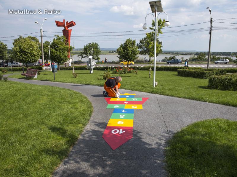 marquage au sol; marquage routier horizontal thermocollant; thermocollé préfabriqué; thermoplastique préfabriqué; jeux educatif pour enfants; jeux de cour de récréation; jeux d'école en plein air; piste cyclable