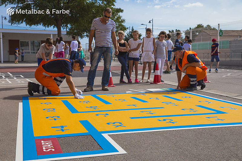 playground markings games; playground games for kids; outdoor play; math games; school yard games; educational games; asphalt games; interactive games; road markings signs; road traffic signs; company logos; snake games; maze games