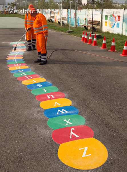playground markings games; playground games for kids; outdoor play; math games; school yard games; educational games; asphalt games; interactive games; road markings signs; road traffic signs; parking lot stencils; caterpillar game
