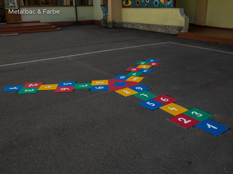 playground markings games; playground games for kids; outdoor play; math games; school yard games; educational games; asphalt games; interactive games; road markings signs; road traffic signs; hopscotch game; maze games; dragon games